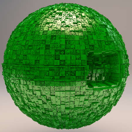 mistic: Sphere Space Station in Green 3D Illustration