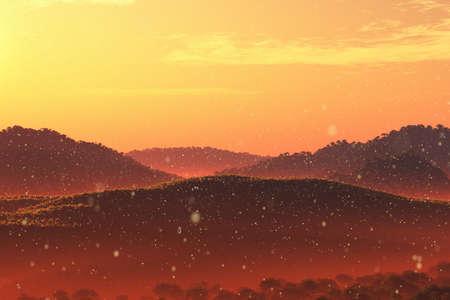 Wonderful Fairy Tale Magical Scenery in Sunset Sunrise 3D Illustration Artwork Stock Photo
