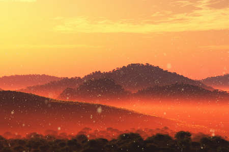 lightrays: Wonderful Fairy Tale Magical Scenery in Sunset Sunrise 3D Illustration Artwork Stock Photo