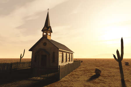Old Wooden Christian Desert Chapel 3D Illustration Stock Photo