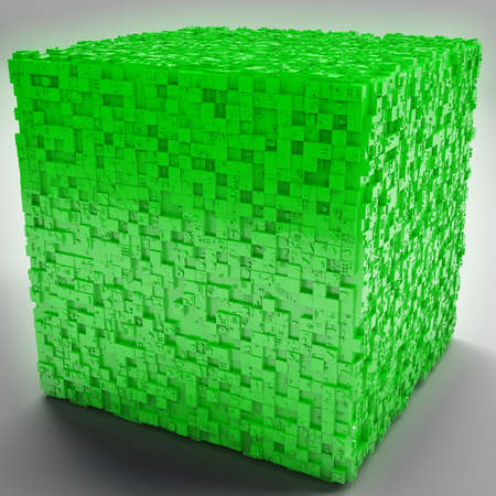 mistic: Mysterious Greeble Cube in Green 3D Illustration Stock Photo
