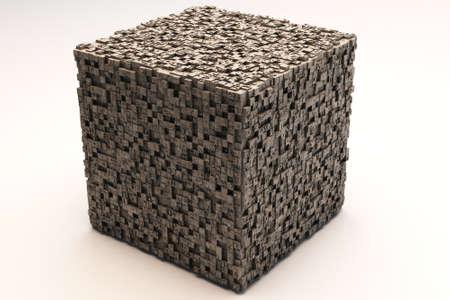 mistic: Mysterious Greeble Cube 3D Illustration
