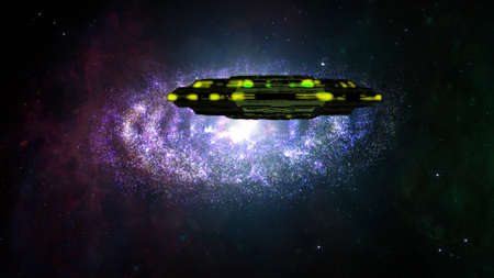 planetary: Alien Spaceship Flying in Amazing Planetary Nebula Galaxy 3D Illustration