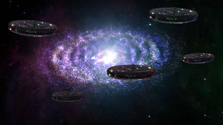 space invader: Alien Spaceship Flying in Amazing Planetary Nebula Galaxy 3D Illustration