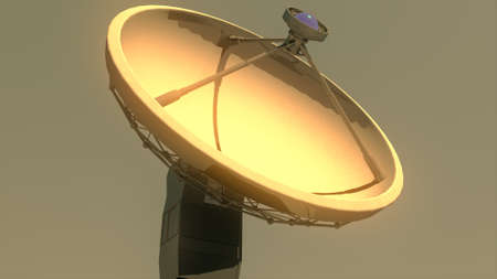 observatory: Radio Telescope Antenna Observatory Array, Dish in the Sunset Sunrise 3D Illustration Stock Photo