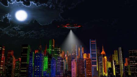 space invader: UFO over Modern Vivid Color City at Night 3D Illustration