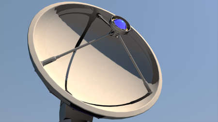 satellite transmitter: Radio Telescope Antenna Observatory Array, Dish under clean blue daytime sky 3D