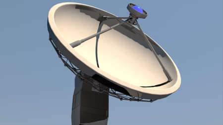 atmospheric: Radio Telescope Antenna Observatory Array, Dish under clean blue daytime sky 3D Illustration