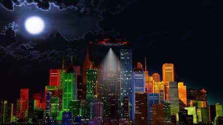 UFO over Modern Vivid Color City at Night 3D Illustration