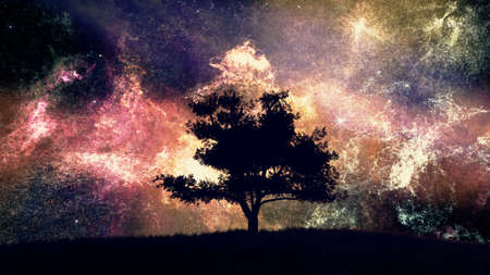 dark nebula: Lonely Tree under Amazing Nebula Night Sky 3D Illustration Stock Photo