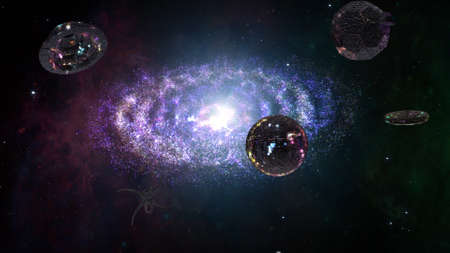 interstellar: Alien Spaceship Flying in Amazing Planetary Nebula Galaxy 3D Illustration