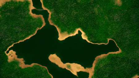 superintendence: Satellite View of Wild Green Lush Nature Area Illustration