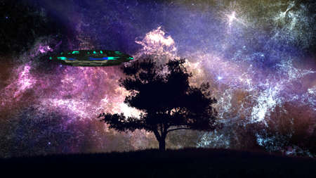 UFO behind Lonely Tree under Amazing Night Sky 3D Illustration Stock Photo