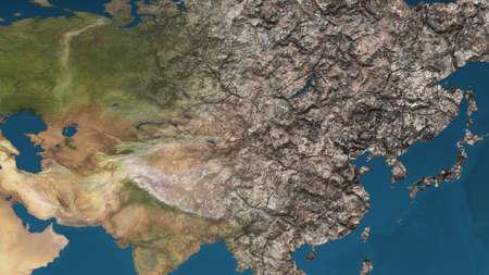 lejano oriente: El calentamiento global de la Tierra muriendo fuerte contaminaci�n afectado y secada Ilustraci�n Extremo Oriente Foto de archivo