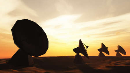 observatory: Radio Telescope Antenna Observatory Arrays, Dishes Under Cloudy Sky in the Sunset Sunrise 3D