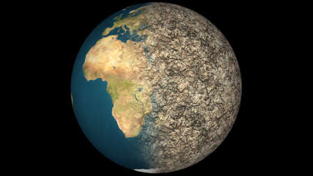 desiccation: Dying Earth Global Warming Heavy Pollution Affected and Dried Earth Illustration