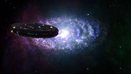 hyperspace: Alien Spaceship Flying in Amazing Planetary Nebula Galaxy 3D Illustration
