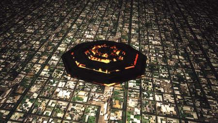 an invasion: Satellite View of UFO Invasion over Suburban Area 3D Illustration Stock Photo