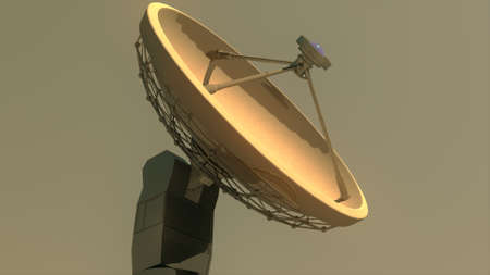parabola: Radio Telescope Antenna Observatory Array, Dish in the Sunset Sunrise 3D Illustration Stock Photo