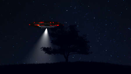 lonely tree: UFO behind Lonely Tree under Amazing Night Sky 3D Illustration Stock Photo