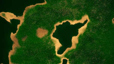 spying: Satellite View of Wild Green Lush Nature Area Illustration