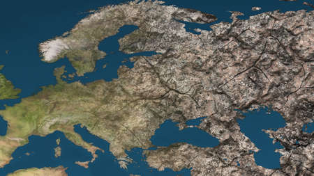 desiccation: Dying Earth Global Warming Heavy Pollution Affected and Dried Europe Illustration