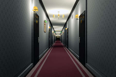 Fancy Hotel Corridor Interior 3D Illustration
