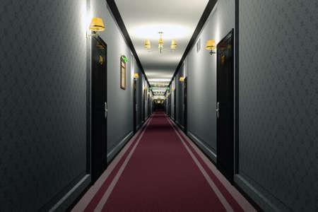 Fancy Hotel Corridor Interior 3D Illustration Stock Photo