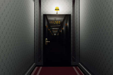 guest house: Fancy Hotel Corridor Interior 3D Illustration Stock Photo