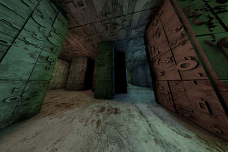 enigmatic: Mysterious Enigmatic Maze Labyrinth 3D Illustration