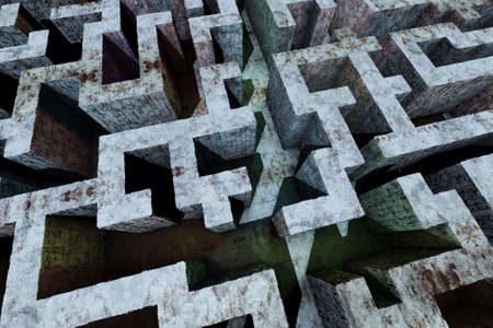 utopia: Mysterious Enigmatic Maze Labyrinth 3D Illustration