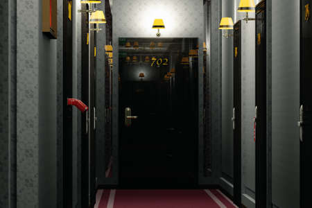 corridor: Fancy Hotel Corridor Interior 3D Illustration Stock Photo