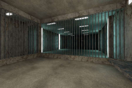 cellule prison: Old Worn Out habita Prison Private Mobile Sc�ne 3D Illustration Banque d'images