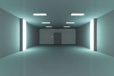 prison cell: Prison Lockup Salut-Tech Cell 3D Illustration Banque d'images