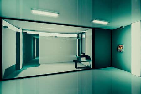 cellule prison: Prison Lockup Salut-Tech Cell 3D Illustration Banque d'images