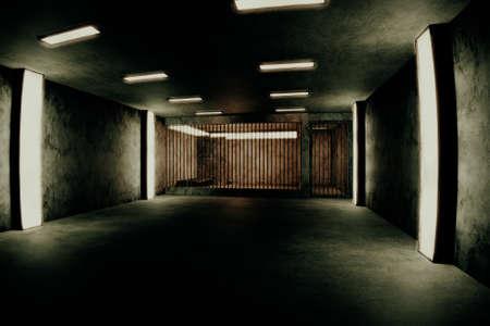 prison cell: Old Worn Out habita Prison Private Mobile Scène 3D Illustration Banque d'images