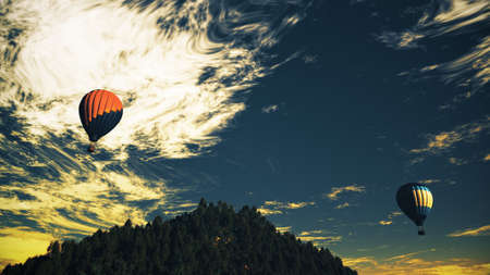Hot Air Balloons over Lush Natural Wilderness Jungle in the Sunset Sunrise 3D Illustration Stock Photo