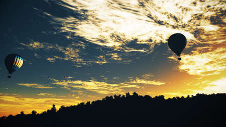 air bladder: Hot Air Balloons over Lush Natural Wilderness Jungle in the Sunset Sunrise 3D Illustration Stock Photo