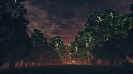 sinister: Dark Sinister Mysterious Magic Forest 3D Illustration Stock Photo