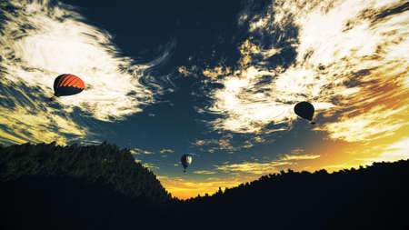 blimp: Hot Air Balloons over Lush Natural Wilderness Jungle in the Sunset Sunrise Extreme Wide Lens 3D Illustration