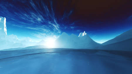 Antarctica Ice Field and Mountains Wide Lens 3D Illustration Stock Photo