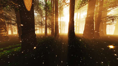 Mystic Fantasy Woods with Lightrays and Fireflies 3D Illustration