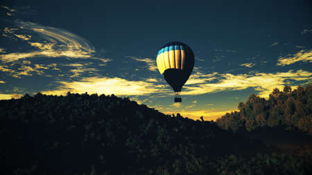 afterglow: Hot Air Balloons over Lush Natural Wilderness Jungle in the Sunset Sunrise 3D Illustration Stock Photo