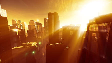 megapolis: Megapolis in the Sunset Sunrise Lightrays 3D Illustration Stock Photo
