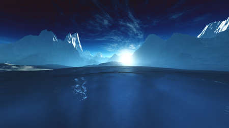 chilly: Antarctica Ice Field and Mountains Wide Lens 3D Illustration Stock Photo