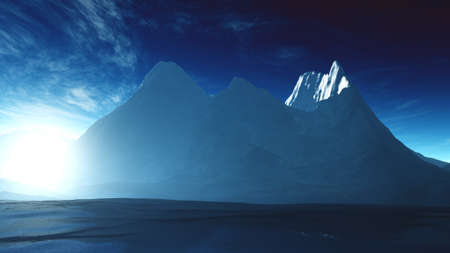 Antarctica Ice Field and Mountains 3D Illustration Stock Photo