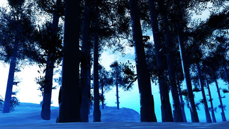 icey: Winter Pine Forest Daytime 3D Illustration Stock Photo