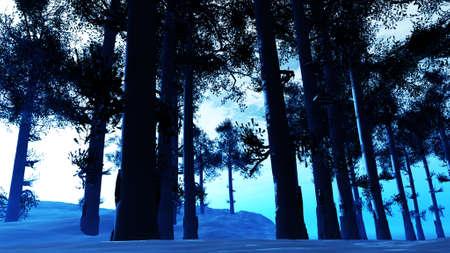 daytime: Winter Pine Forest Daytime 3D Illustration Stock Photo
