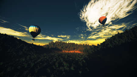 air bladder: Hot Air Balloons over Lush Natural Wilderness Jungle in the Sunset Sunrise Wide Lens 3D Illustration