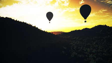 blimp: Hot Air Balloons over Lush Natural Wilderness Jungle in the Sunset Sunrise 3D Illustration Stock Photo